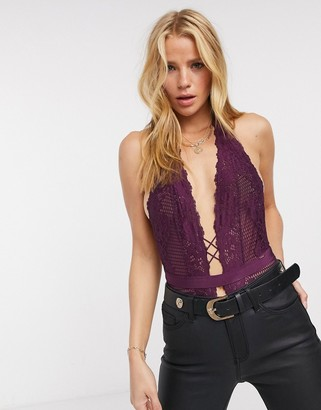 Dorina Skye halter neck lace bodysuit in burgundy