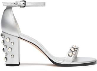Stuart Weitzman Faux Pearl-embellished Metallic Leather Sandals