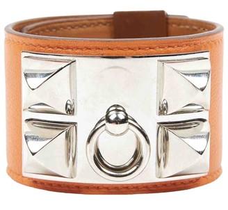 Hermes Collier de chien Orange Leather Bracelets