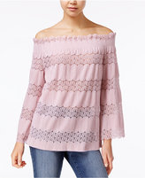 Say What ? Juniors' Off-The-Shoulder Lace-Stripe Top