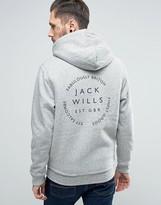 Jack Wills Whitelaw Hoodie Fleece Lined Zipthru Back Print