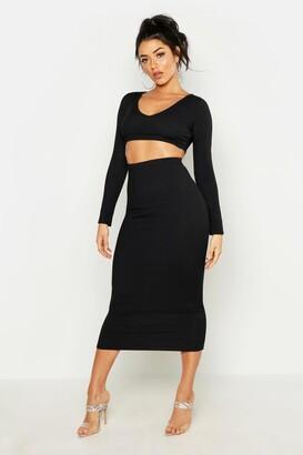 boohoo Long Sleeve Crop & Midaxi Skirt Rib Co-Ord Set