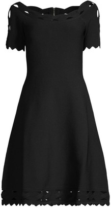 Milly Scallop Trim Knit A-Line Dress