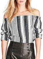 Polo Ralph Lauren Off-The-Shoulder Long Sleeve Striped Shirt