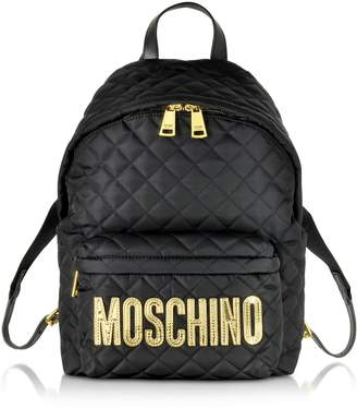 Moschino Black Quilted Nylon Medium Backpack W/golden Logo