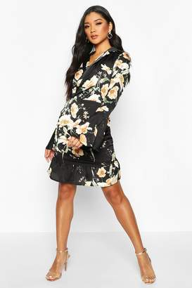 boohoo Floral Print Satin Flared Sleeve Mini Dress