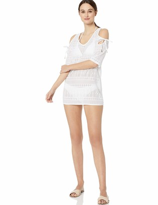 Anne Cole Women's Crochet Off The Shoulder Tunic Cover Up