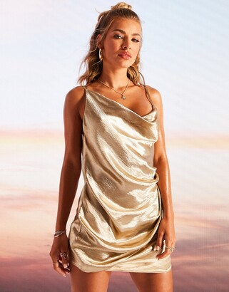 ASOS DESIGN drape slip mini dress in high shine Champagne satin