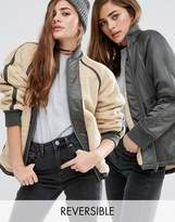 Asos Reversible Bomber Jacket with Fleece Lining
