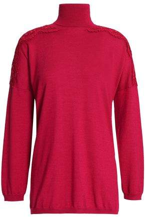 Valentino Lace-Trimmed Wool Silk And Cashmere-Blend Turtleneck Sweater