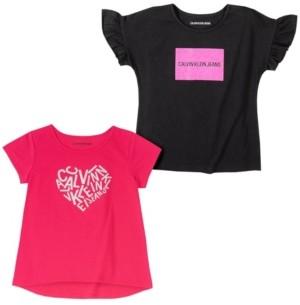 Calvin Klein Big Girls Heart Two Pack Logo Tees