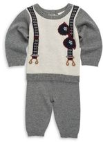Baby's Sweater Embroidered Top & Pants Set