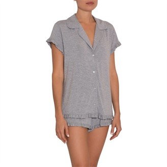 Eberjey Ruthie Ruffle Short PJ Set Grey M