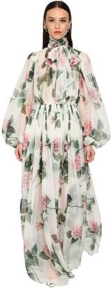 Dolce & Gabbana Long Printed Chiffon Silk Dress