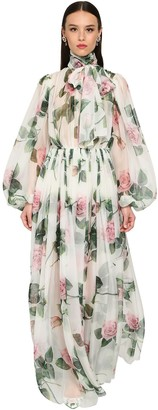 Dolce & Gabbana Long Printed Chiffon Silk Dress