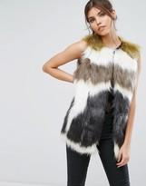 Forever Unique Faux Fur Belted Gillet