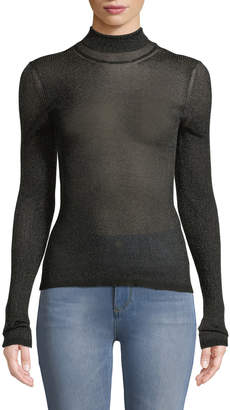 Missoni Metallic Mock-Neck Sweater with Contrast Tipping