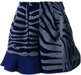 Kolor animal print ruffle shorts - women - Nylon/Wool - 2