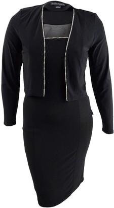 Jessica Howard Women's Illusion Neck Sheath Jacket Dress
