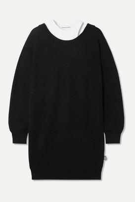 Alexander Wang Layered Merino Wool And Stretch-cotton Jersey Mini Dress - Black