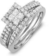 DazzlingRock Collection 1.15 Carat (ctw) 14K White Gold Princess & Round White Diamond Engagement Bridal Ring Set (Size 7.5)