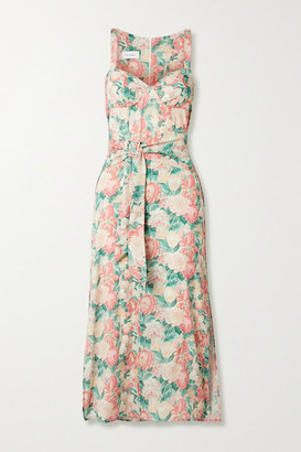 ART DEALER Belted Floral-print Silk-blend Georgette Midi Dress - Pink