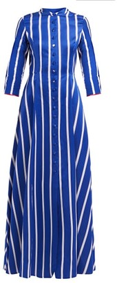 Evi Grintela Carine Striped Collarless Cotton Shirtdress - Womens - Blue