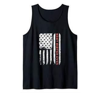 Best Sister Ever Shirt Girl Women 4th July Gift Vintage Flag Tank Top