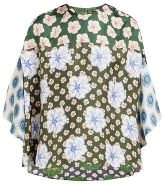 Biyan Swan Floral-print Silk Blouse - Womens - Blue Multi