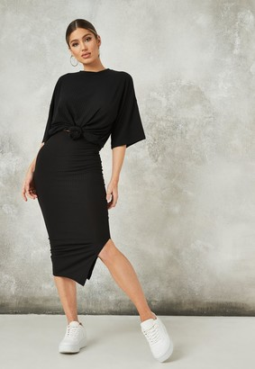 Missguided Black Co Ord Rib Midi Skirt