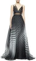 Lela Rose Sleeveless Asymmetric-Neck Printed Gown, Black/Ivory