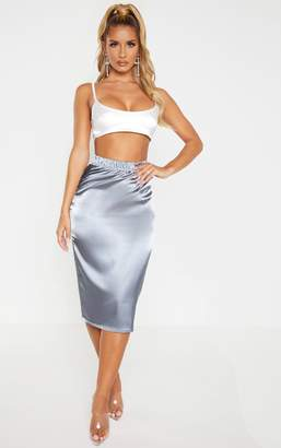 PrettyLittleThing Lead Grey Satin Midi Skirt