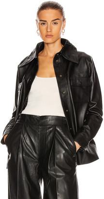 REMAIN Rosalee Long Sleeve Leather Shirt in Black | FWRD
