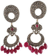 Designer Yellow Gold Cabochon Ruby Rose Cut Diamond Drop Earrings