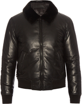 Alexander McQueen Fur-collar padded leather bomber jacket