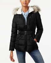 Laundry by Design Faux-Fur-Trim Belted Puffer Coat