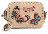 Valentino Rockstud Beaded Butterfly Leather Camera Crossbody Bag - Brown