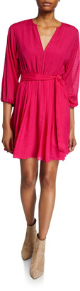 Joie Favia Tie-Waist 3/4-Sleeve Dress