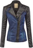 Lock and Love LL WJC1014 Womens Faux Leather Biker Denim Jacket XS BLACK_BLUE