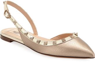 Valentino Rockstud Metallic Leather Slingback Ballet Flats