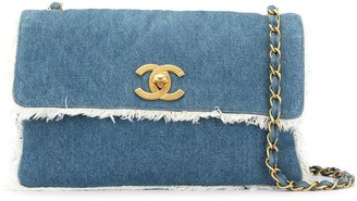 Chanel Pre Owned Fringed Denim Shoulder Bag
