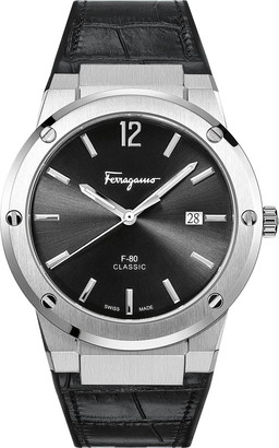Salvatore Ferragamo F-80 Croc Embossed Leather Strap Watch, 41mm