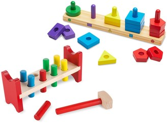 Melissa & Doug Pound-A-Peg & Stack & Sort Board Classic Wooden Toy Bundle