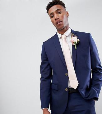 Farah Smart skinny wedding suit jacket in linen Exclusive at ASOS-Navy