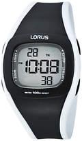 Lorus R233GX9 Children's Plastic Digital Chronograph Rubber Strap Watch, Black/White