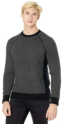 Vince Birdseye Crew Sweater (Black/Heather Grey) Men's Clothing