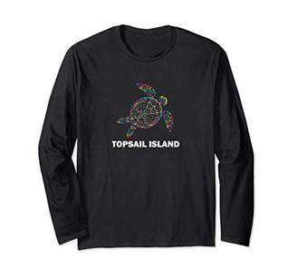 Topsail Island NC Hippie Psychedelic Tribal Sea Turtle Long Sleeve T-Shirt