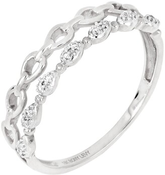 Bony Levy 18K White Gold Diamond Pear Shape Link Double Row Ring - 0.04 ctw