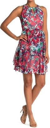 Tahari Sleeveless Printed Chiffon Layered Dress