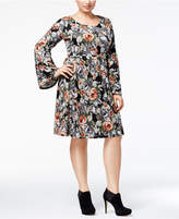 NY Collection Plus Size Bell-Sleeve Fit and Flare Dress